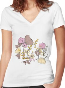 Flowers typography poster design, Love Women's Fitted V-Neck T-Shirt