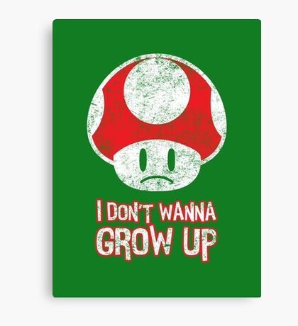 Distressed Mario Mushroom - I Don't Want to Grow Up (Sad Face) Canvas Print