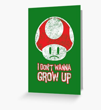 Distressed Mario Mushroom - I Don't Want to Grow Up (Sad Face) Greeting Card