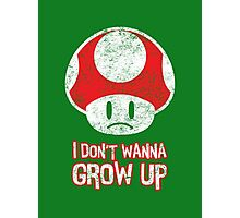 Distressed Mario Mushroom - I Don't Want to Grow Up (Sad Face) Photographic Print