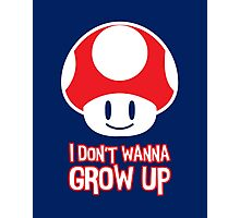 Mario Mushroom - I Don't Want to Grow Up (Happy Face) Photographic Print