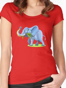 Blue Elephant Cartoon Artwork Women's Fitted Scoop T-Shirt