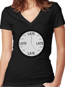 Legitimately Accurate Clock (Late) Women's Fitted V-Neck T-Shirt