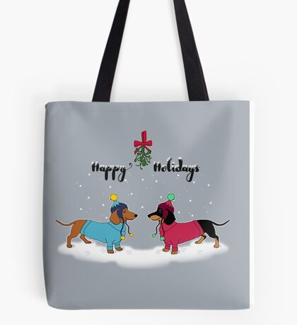 Happy Holidays! Dachshund Sweethearts Tote Bag