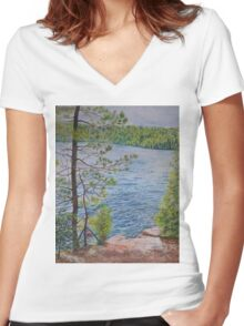 The View From the Jumping Rocks Women's Fitted V-Neck T-Shirt
