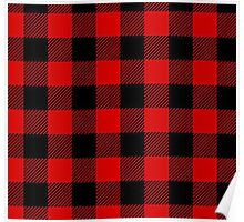 Red Plaid Christmas Pattern Poster