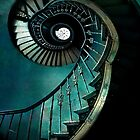 Spiral staircase in green and blue by JBlaminsky