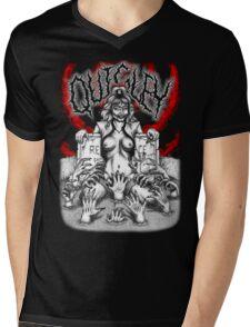 Say You Love Satan 80s Horror Podcast - Linnea Quigley - Night of the Demons - Return of the Living Dead Mens V-Neck T-Shirt