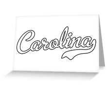 Carolina Script White Black Outline Greeting Card