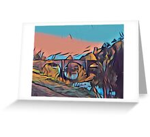 Dinham Bridge in Gouache Abstract Greeting Card