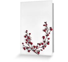 Red berries holly on white Greeting Card