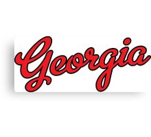 Georgia Script Red Black Outline Canvas Print