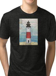 Sankaty Head Lighthouse MA Nautical Chart Peek Tri-blend T-Shirt
