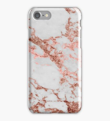 Stylish white marble rose gold glitter texture image iPhone Case/Skin