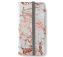 Stylish white marble rose gold glitter texture image iPhone Wallet/Case/Skin
