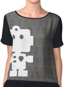 Robot - steel & white Chiffon Top