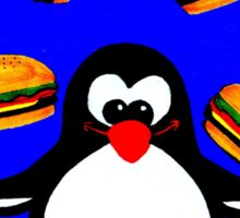 Penguin with Cheeseburgers Sticker