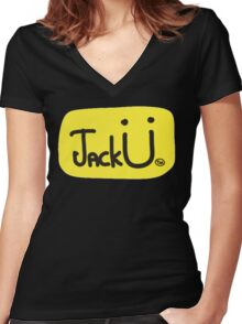 JACK U IN YELLOW Women's Fitted V-Neck T-Shirt