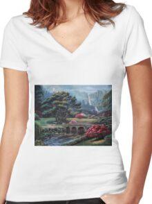 Garden Of The Spirit Women's Fitted V-Neck T-Shirt