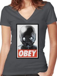 Obey K-2SO Women's Fitted V-Neck T-Shirt