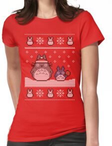 Santa-Totoro Christmas Sweater Womens Fitted T-Shirt
