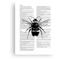 Bumble Bee On Text Canvas Print