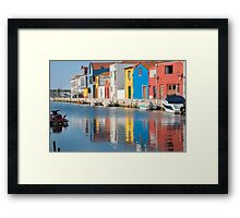 Water canal dock in Aveiro, Portugal Framed Print