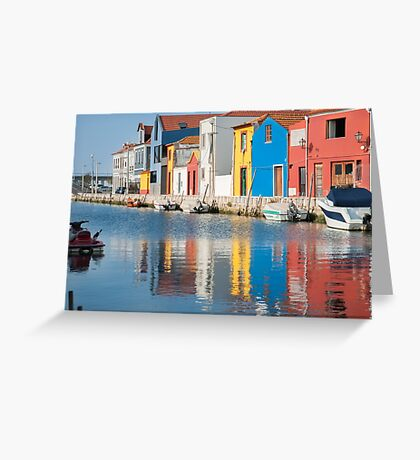 Water canal dock in Aveiro, Portugal Greeting Card
