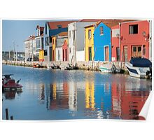 Water canal dock in Aveiro, Portugal Poster