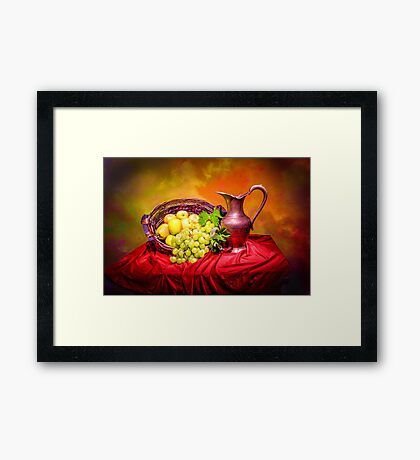 Copper jug and grapes  Framed Print