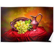Copper jug and grapes  Poster