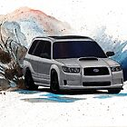Subaru Forester XT Watercolor Drift Painting by BecauseRaceArt