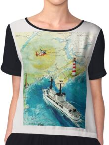 USCGC CHASE Helicopter Lighthouse Map Cathy Peek Chiffon Top