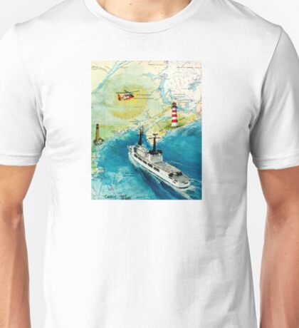 USCGC CHASE Helicopter Lighthouse Map Cathy Peek Unisex T-Shirt