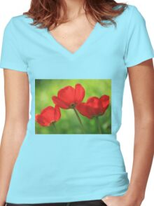 red tulips on green background Women's Fitted V-Neck T-Shirt