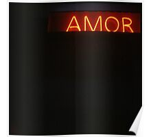 Neon light sign Amor love in Spanish on black medium format film analogue photo Poster
