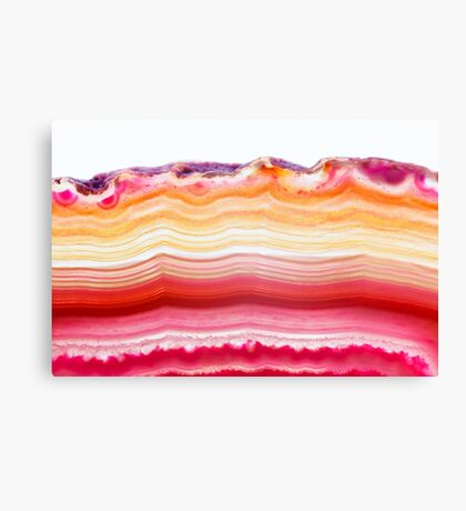 Red and orange agate mineral super macro Canvas Print