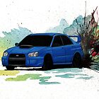 Subaru WRX STi Watercolor Drift Painting - World Rally Blue by BecauseRaceArt