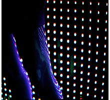 Futuristic shop dummy mannequin at night in led light effect analogue film photograph Photographic Print