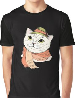 Fashion Portrait of Hipster Cat in scarf and hat Graphic T-Shirt