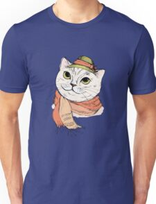 Fashion Portrait of Hipster Cat in scarf and hat Unisex T-Shirt
