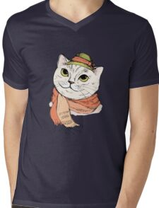 Fashion Portrait of Hipster Cat in scarf and hat Mens V-Neck T-Shirt