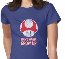 Distressed Mario Mushroom - I Don't Want to Grow Up (Sad Face) Womens Fitted T-Shirt