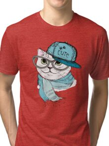 Fashion Cat in a cap,scarf and glasses Tri-blend T-Shirt