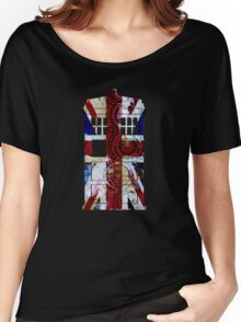 Union Jack TARDIS with Gallifreyan  Women's Relaxed Fit T-Shirt
