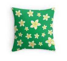 pattern with White frangipani flowers Throw Pillow