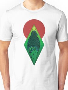 Geometric Crow in a diamond (color version) Unisex T-Shirt
