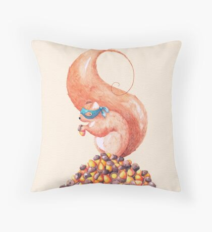 The Bandit Squirrel Throw Pillow