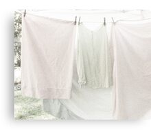 Laundry on the Line in Pastel Pink and Green Canvas Print