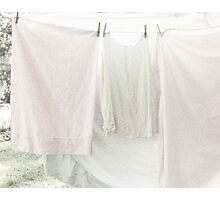 Laundry on the Line in Pastel Pink and Green Photographic Print